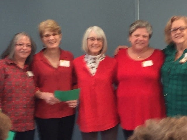 Pictured from left to right are Maria Pearce, Secretary; Lois Visage,Co-Vice President; Judy Burnham,Co-Vice President; Paula Stuart,Treasurer and Gale Wiley, President.