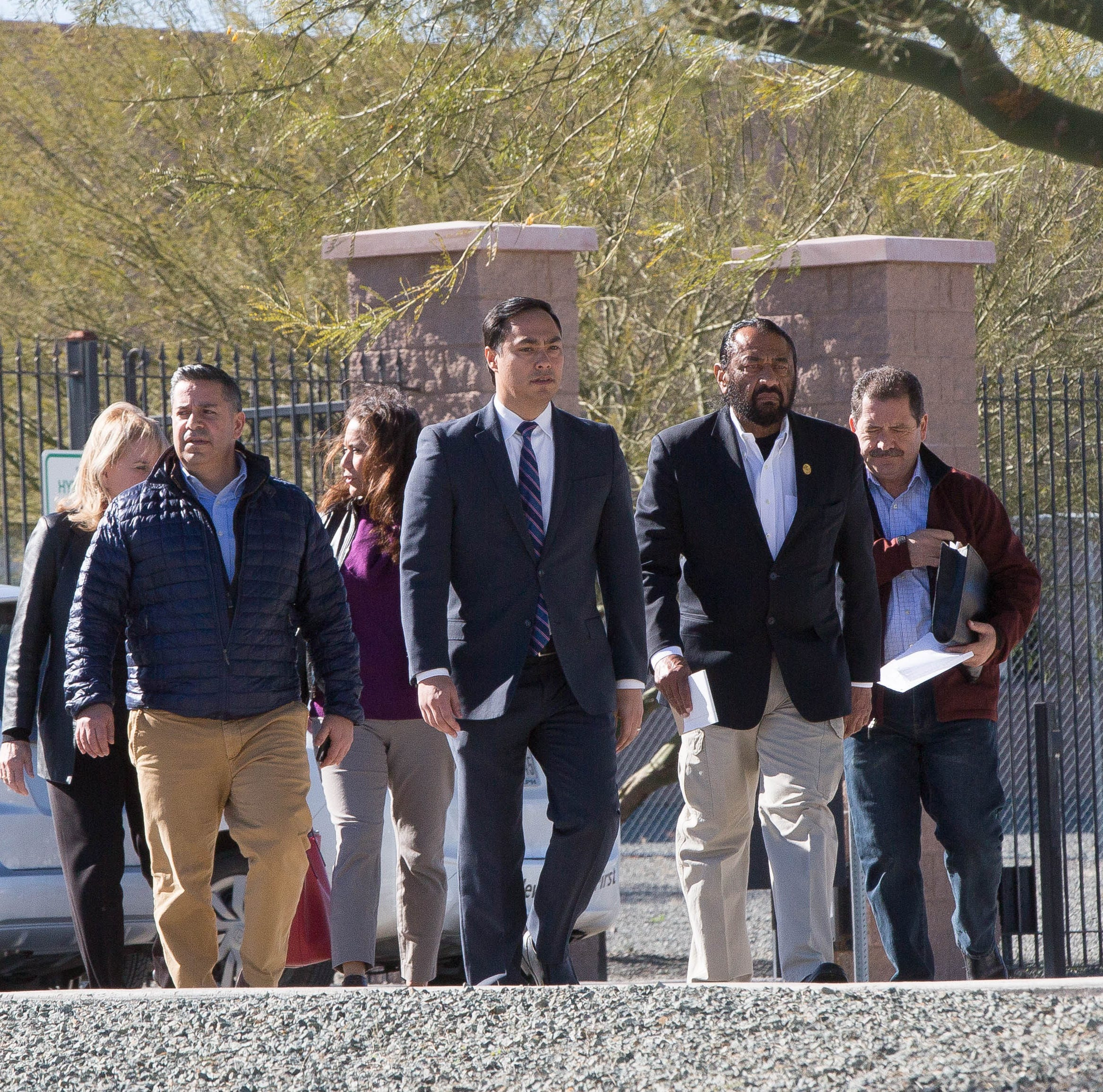 Congressman Joaquin Castro, D-Texas, chairman-elect of the Congressional Hispanic Caucus, walks out of the Border Patrol station following a tour of the facility on Tuesday, Dec. 18, 2018.
