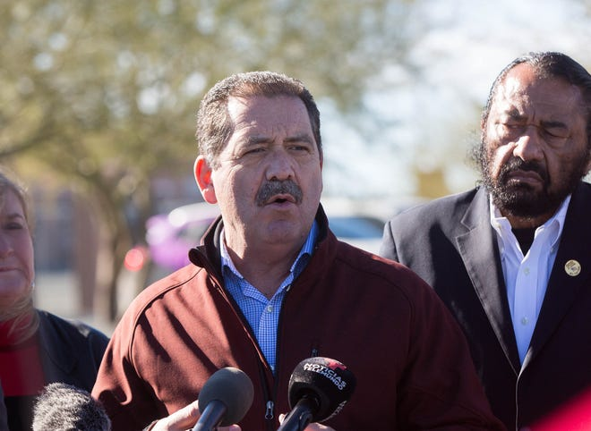 """Congressman-Elect Jesus """"Chuy"""" Garcias , IL, speaks to the press about  what he saw in the Customs and Border Patrol Station in Lordsburg, to the press gathered outside the station, Tuesday December 18, 2018."""