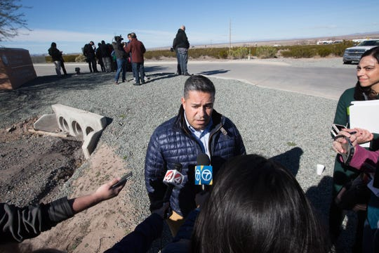 Congressman Ben Ray Luján, D-N.M., speaks to news media outside of the Border Patrol station in Lordsburg, N.M., on Tuesday, Dec. 18, 2018.  Luján was one of the members of the Congressional Hispanic Caucus touring the station in response to the death of Jakelin Amei Rosmery Caal Maquin.