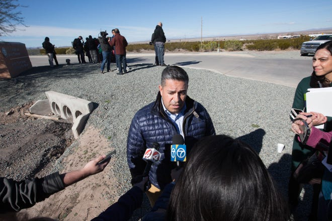 Congressman Ben Ray Luján, D-N.M., speaks to news media outside of the Border Patrol station in Lordsburg, N.M., on Tuesday, Dec. 18, 2018.