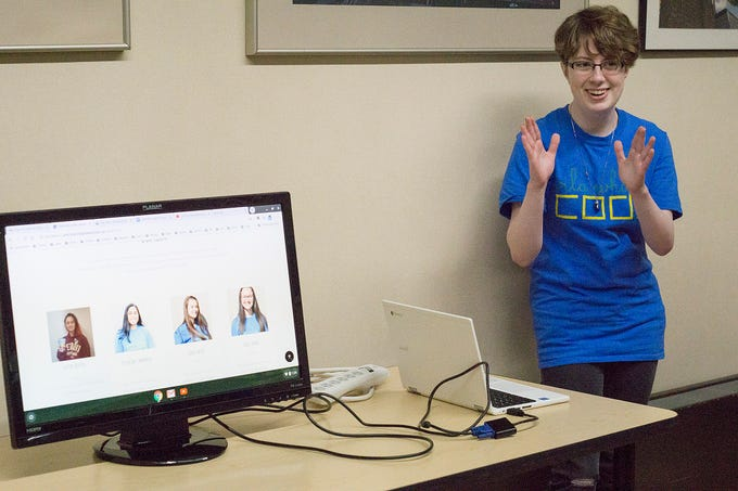 Jacquelyn Wilson, a student at Mercy High School, talks about the Girls Who Code sisterhood.