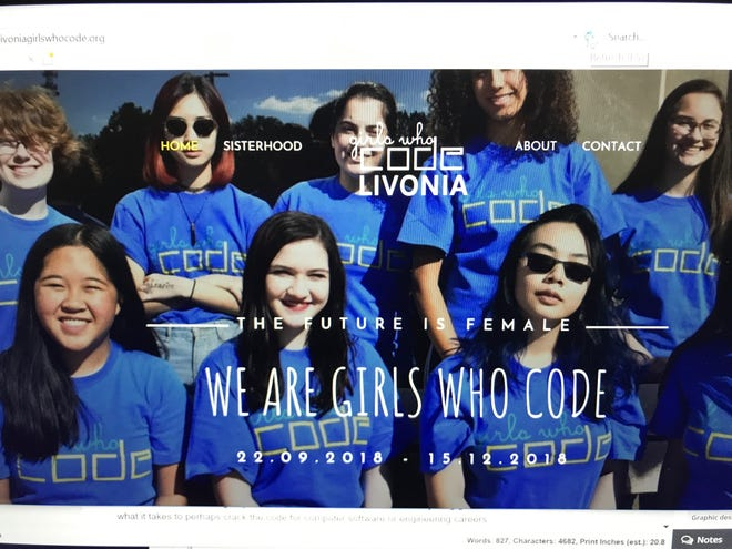 The bold splash page of this website, designed by the Girls Who Code club in Livonia, depicts their confidence, determination and overriding mission to close the gender gap in computer programming circles.