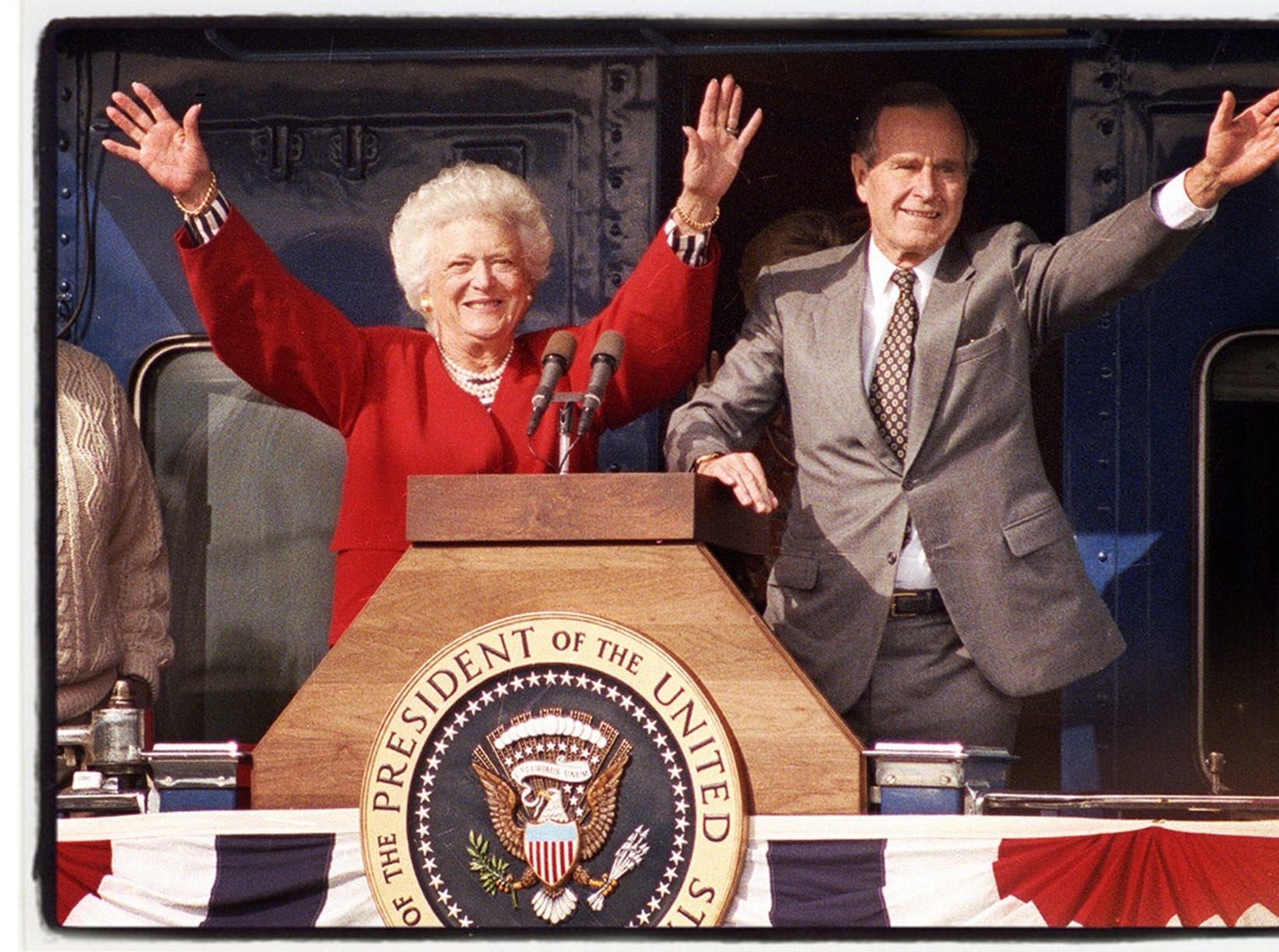 George H. W. Bush died in 2018. In 1992, running for reelection, he came to Plymouth by train. Next morning he and Barbara Bush departed from Livonia near Levan Road.