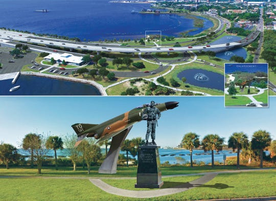 "A rendering shows what a Gen. Daniel ""Chappie"" James memorial could look like at the foot of the Pensacola Bay Bridge."