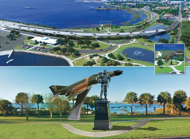 """A rendering shows what a Gen. Daniel """"Chappie"""" James memorial could look like at the foot of the Pensacola Bay Bridge."""