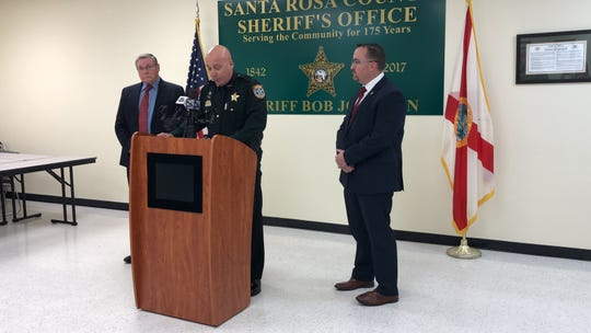 From left to right: State Attorney Bill Eddins, Santa Rosa County Sheriff Bob Johnson and Assistant Special Agent in Charge for FDLE Chris Williams speak at a press conference on Tuesday, Dec. 18, announcing the arrest of SRSO Deputy Jeffery Perkins.