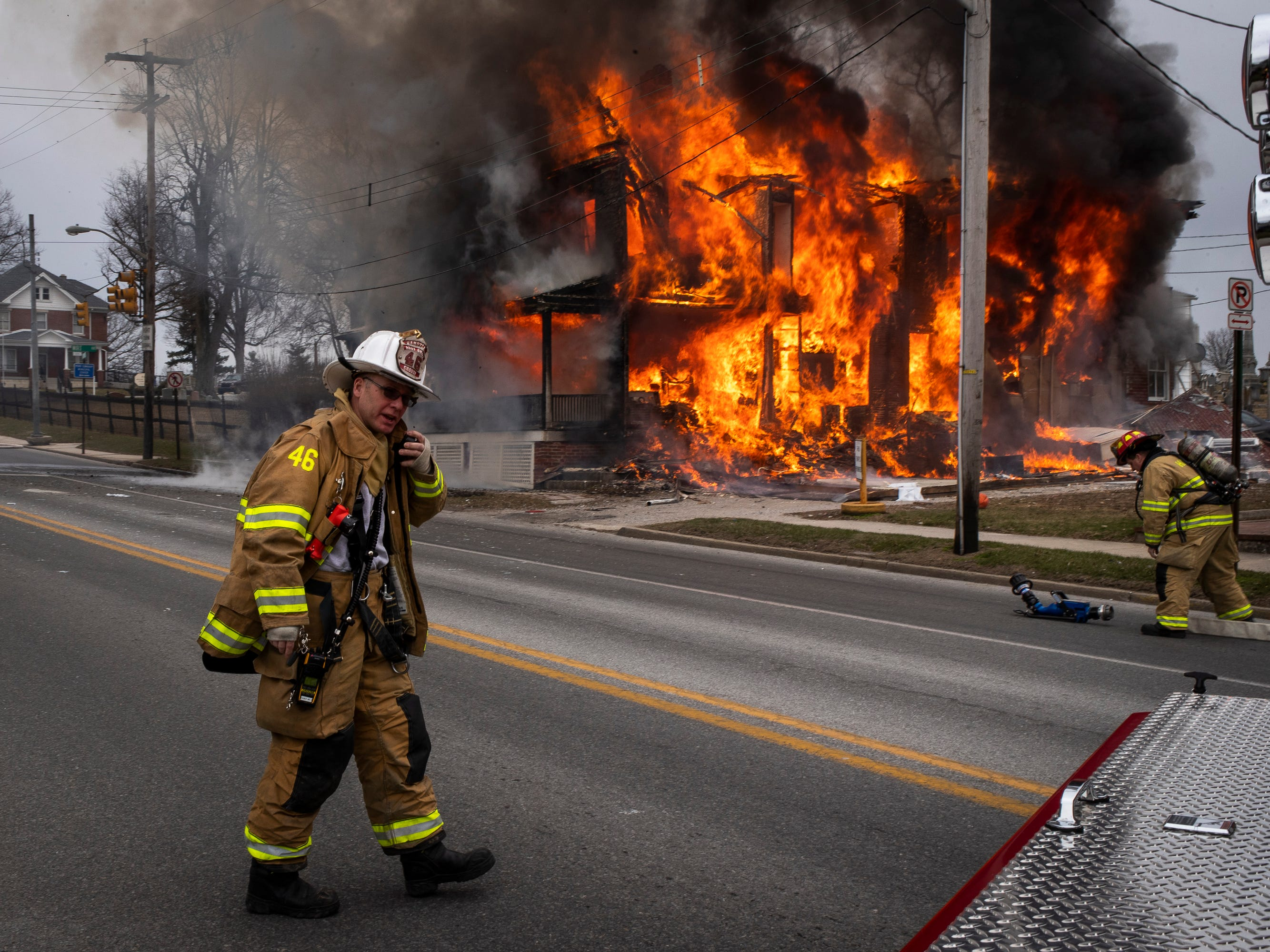 Assistant Chief Andrew Crouse assumes initial command at the scene of a third-alarm house explosion on the 600 block of Baltimore street, Saturday, March 17, 2018 in Hanover. A critically burned man from inside the house was airlifted from the scene of the explosion in a medical helicopter, but later succumbed to his injuries.