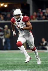 Arizona Cardinals receiver Larry Fitzgerald runs a route against the Atlanta Falcons on Dec. 16, 2018.