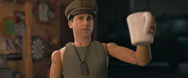 """Cap'n Hogie (Steve Carell) is the doll alter-ego for artist Mark Hogancamp in """"Welcome to Marwen."""""""