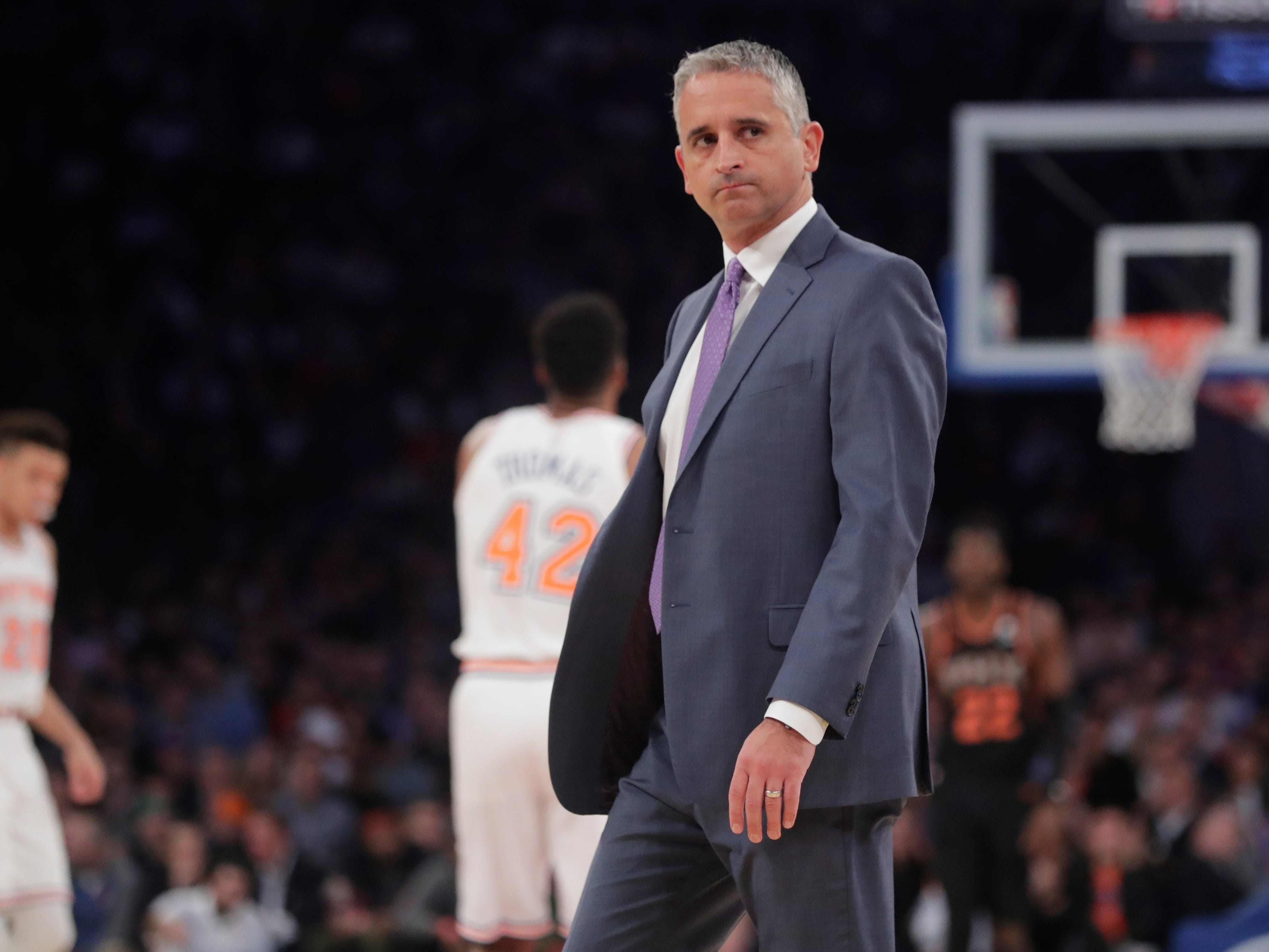 Phoenix Suns head coach Igor Kokoskov reacts during the first half of an NBA basketball game against the New York Knicks, Monday, Dec. 17, 2018, in New York.