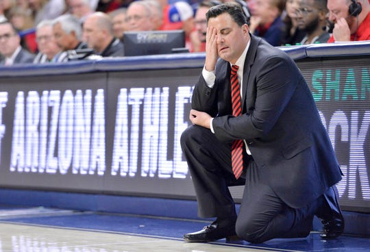 Arizona Wildcats head coach Sean Miller reacts on the sideline during the first half against the Baylor Bears at McKale Center. Casey Sapio-USA TODAY Sports