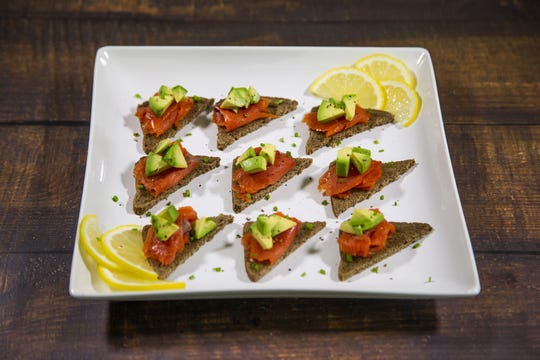 Renowned chef Robin Miller created these smoked-salmon and avocado toasts with lemon mixers.