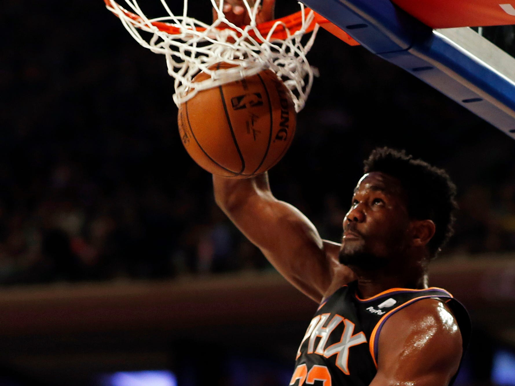 Dec 17, 2018; New York, NY, USA; Phoenix Suns center Deandre Ayton (22) dunks the ball against the New York Knicks during the first half at Madison Square Garden. Mandatory Credit: Adam Hunger-USA TODAY Sports