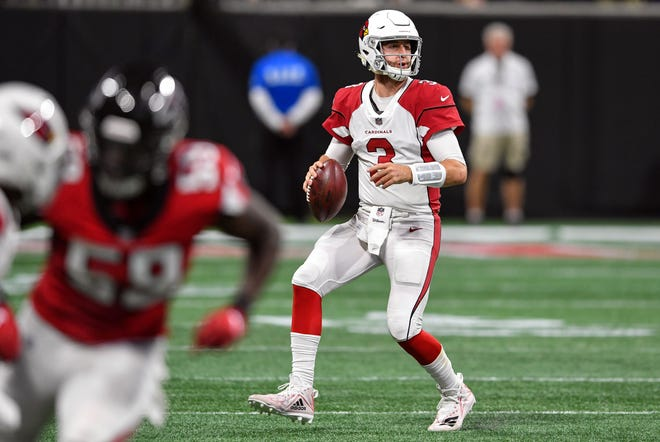 Dec 16, 2018: Arizona Cardinals quarterback Josh Rosen (3) looks for a receiver downfield against the Atlanta Falcons during the first half at Mercedes-Benz Stadium.