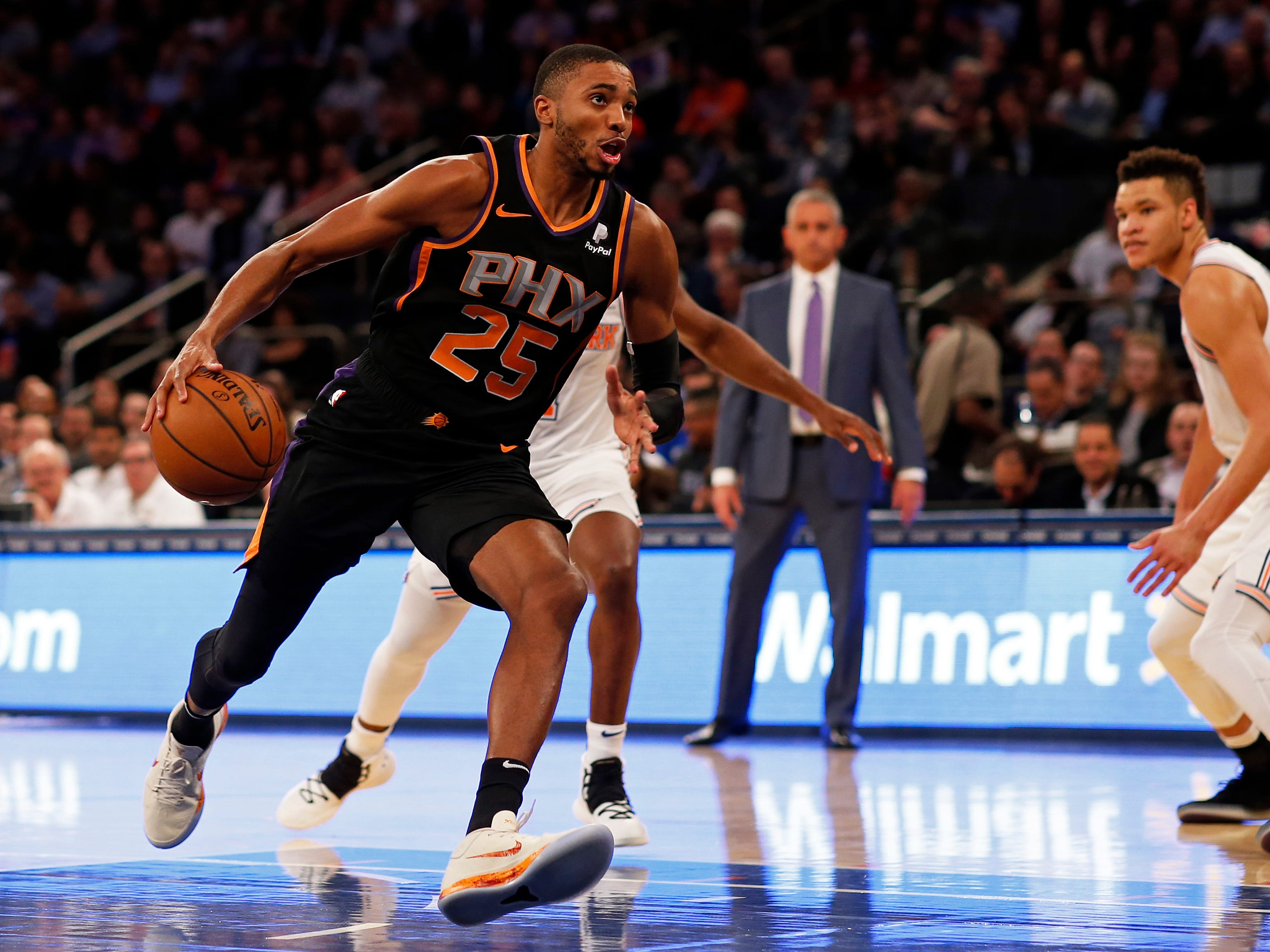 Dec 17, 2018; New York, NY, USA; Phoenix Suns forward Mikal Bridges (25) drives to the basket against the New York Knicks during the first half at Madison Square Garden. Mandatory Credit: Adam Hunger-USA TODAY Sports