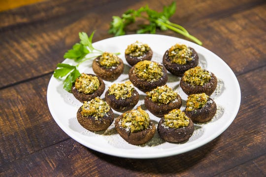 Renowned chef Robin Miller created these vegetarian-stuffed cremini mushrooms.