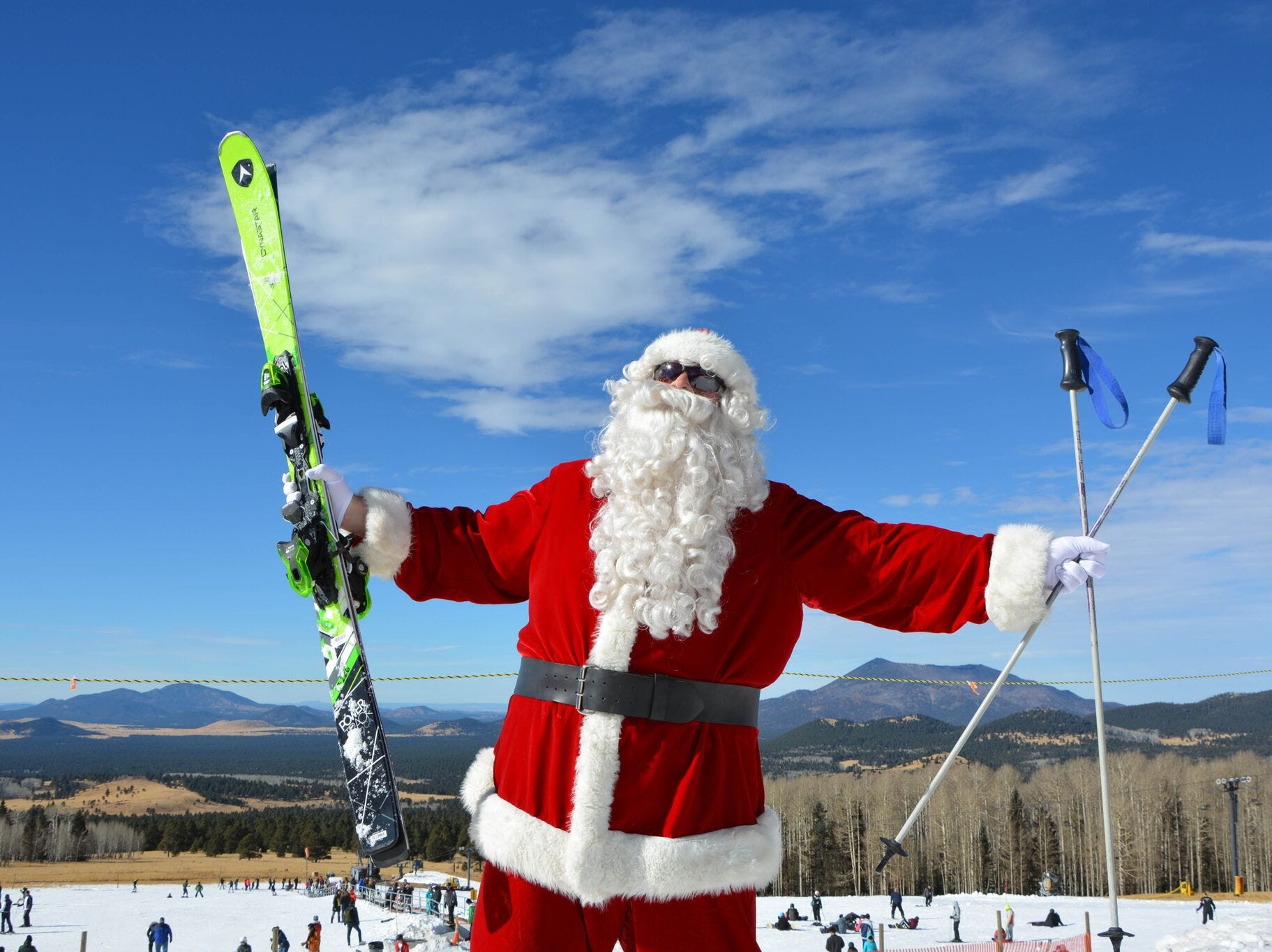 Skiing Santa will be hitting the slopes at Arizona Snowbowl on Dec. 22-24, 2018. Santa will ski the Big Spruce and Little Spruce runs at the ski resort near Flagstaff.