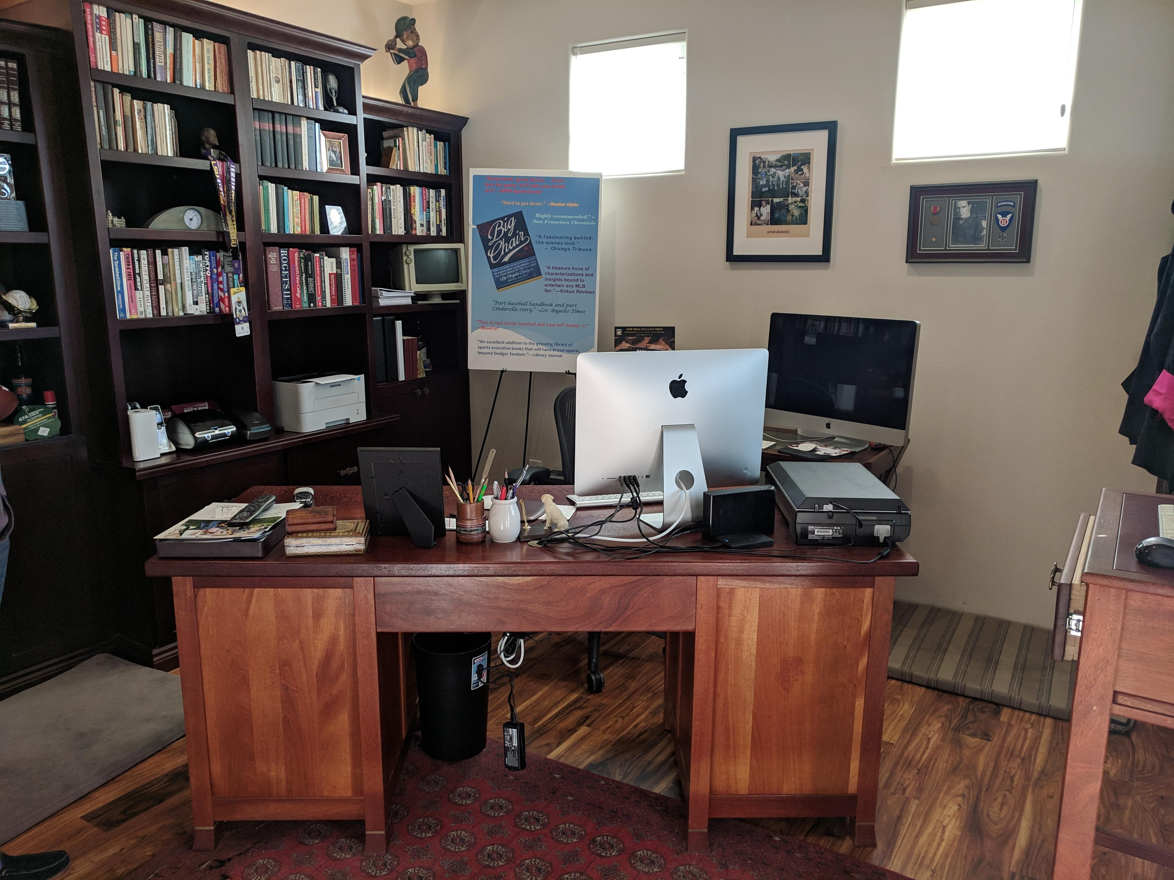 Joseph Reaves has a dedicated office in the back of the home, where he worked on the books he recently published related to his investigative reporting and his time working with the Los Angeles Dodgers.