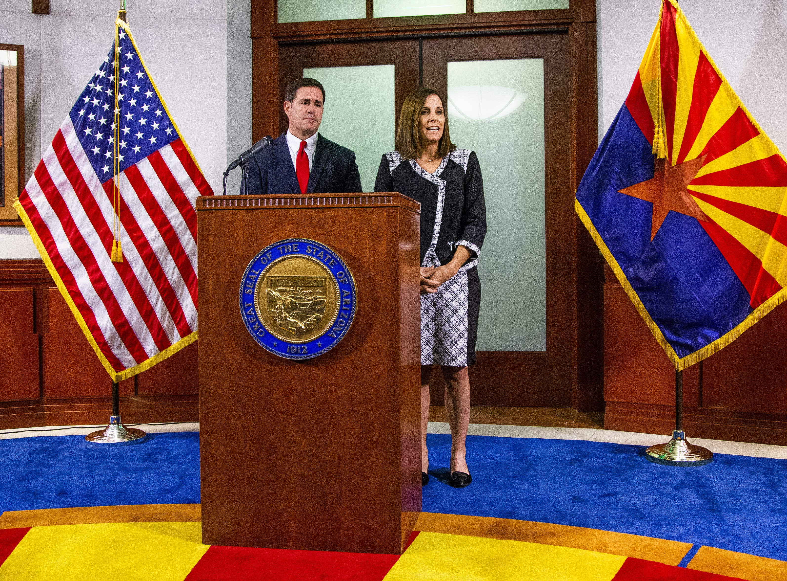 Gov. Doug Ducey announces Dec. 18, 2018, that Martha McSally will fill out the remainder of Sen. John McCain's Senate term..