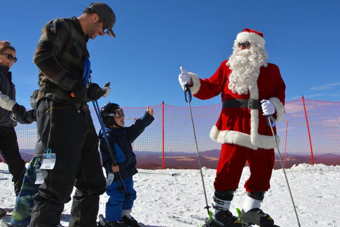 Skiing Santa will be on the slopes at Arizona Snowbowl on Dec. 22-24, 2018. Santa will ski the Big Spruce and Little Spruce runs at the ski resort near Flagstaff.