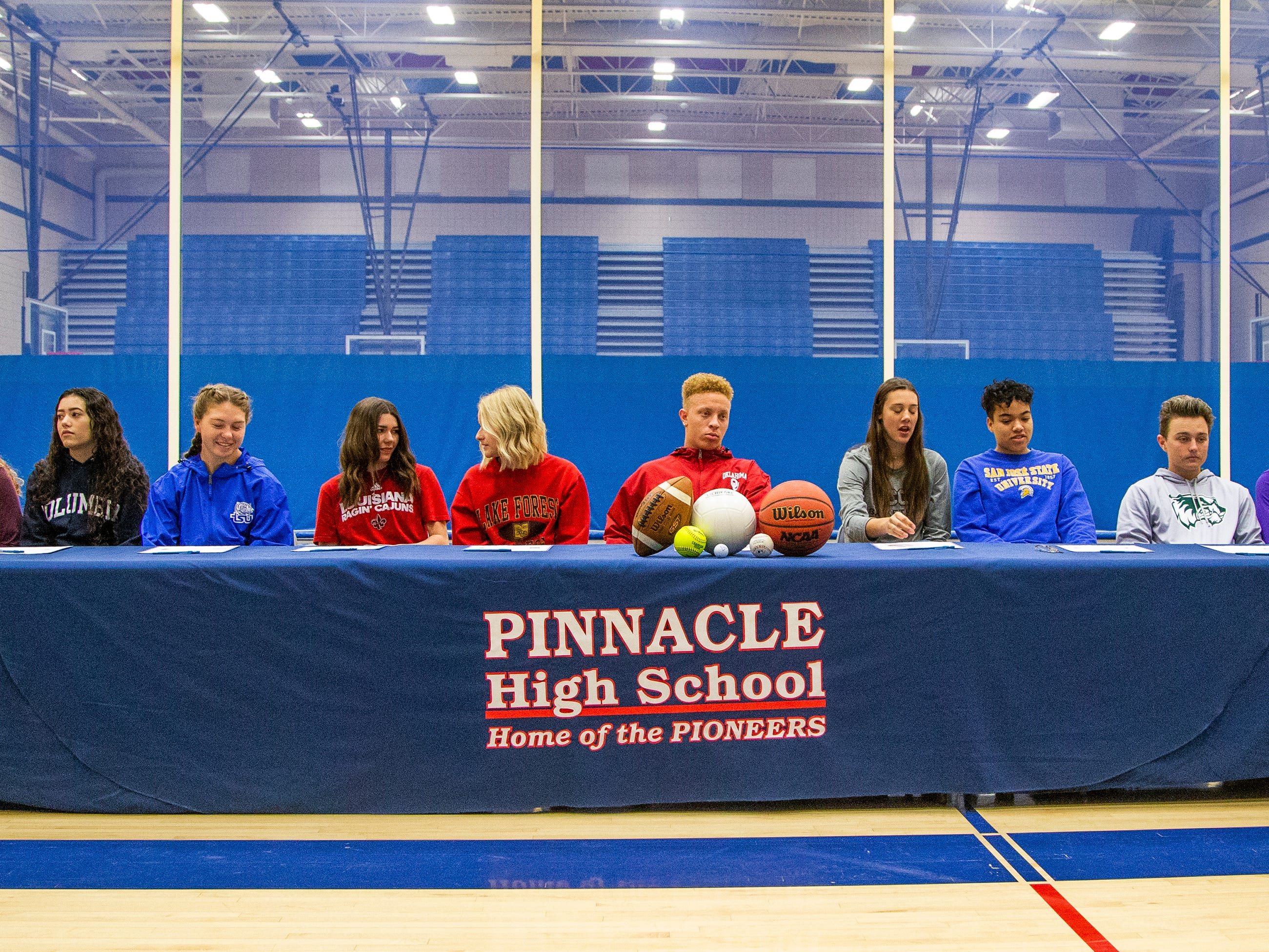 Pinnacle High School hosted a mock signing day event for 10 of its athletes on Tuesday, Dec. 18, 2018.