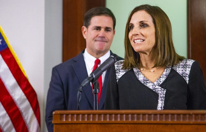 Martha McSally speaks Dec. 18, 2018, to the press after Gov. Doug Ducey announced that she will serve out the remainder of Sen. John McCain's Senate term.