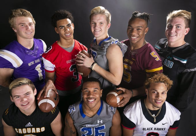 Jake Smith, Jaydin Young, Jacob Conover, Bijan Robinson, Kohner Cullimore, Noa Pola-Gates, DeCarlos Brooks and Connor Soelle are the finalist for the azcentral Sports Awards high school football Player of the Year. #azcsportsawards