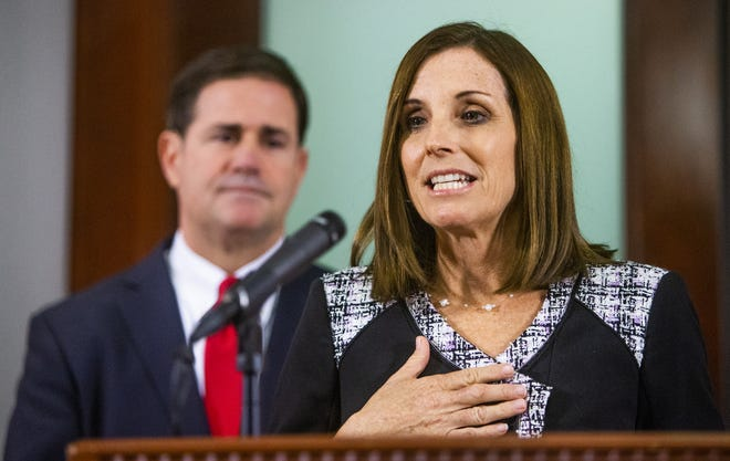 Martha McSally speaks to the press Dec. 18, 2018, after Gov. Doug Ducey announced that the congresswoman will fill out the remainder of Sen. John McCain's Senate term.