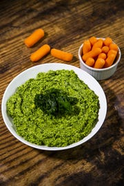 Renowned chef Robin Miller created this massaged kale hummus.