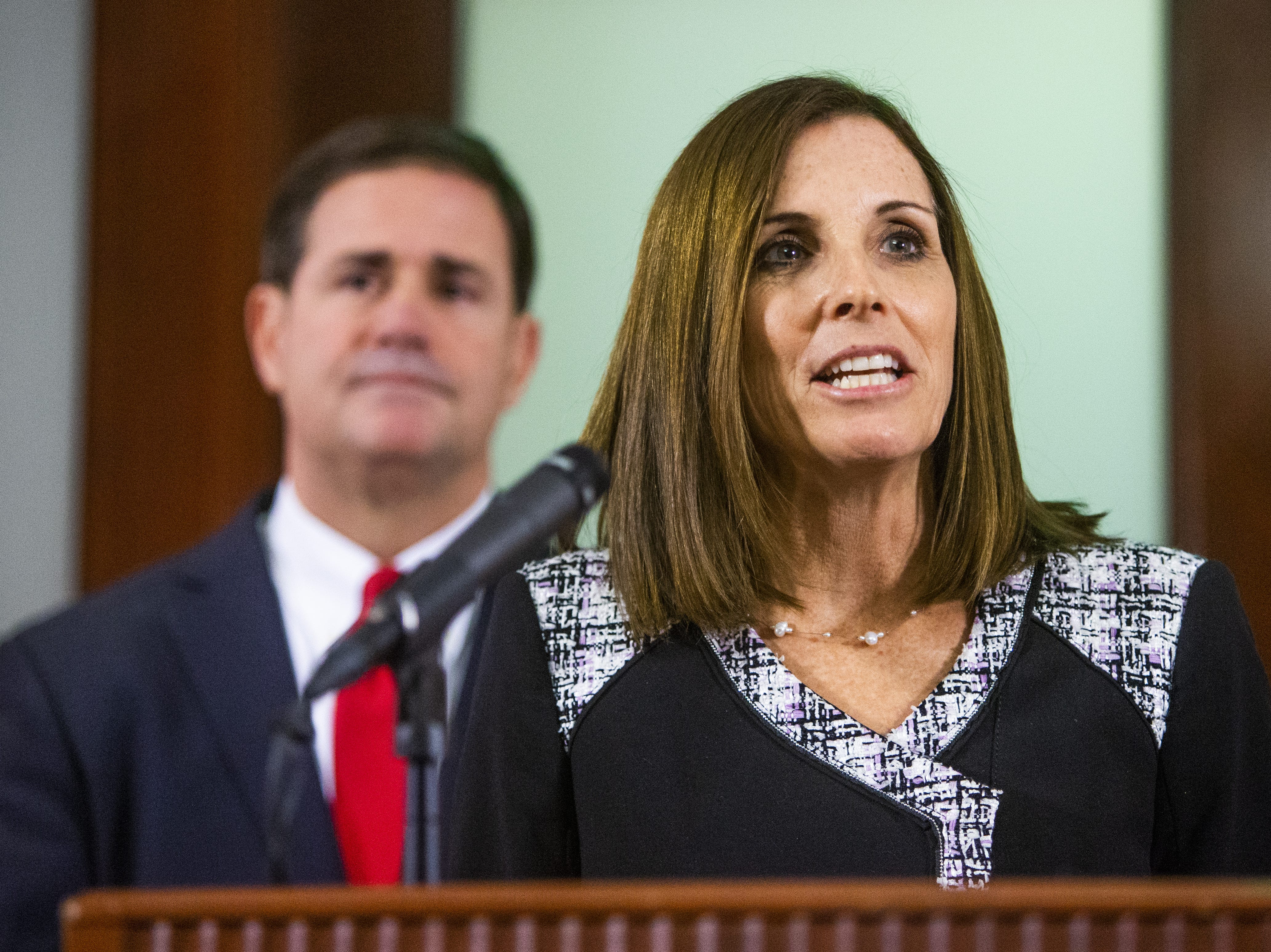 Rep. Martha McSally speaks to the press Dec. 18, 2018, after Gov. Doug Ducey announced that she will fill out the remainder of Sen. John McCain's Senate term.
