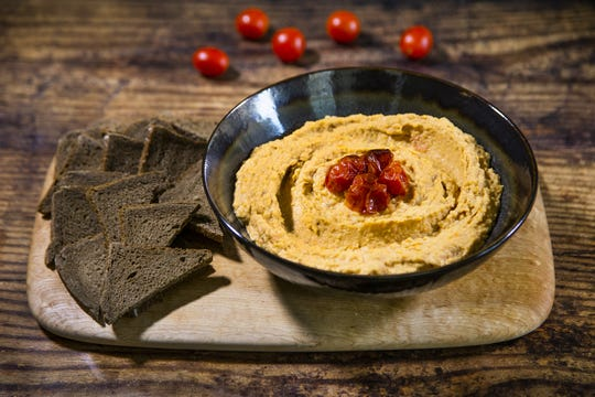 Renowned chef Robin Miller created this spicy roasted tomato hummus.
