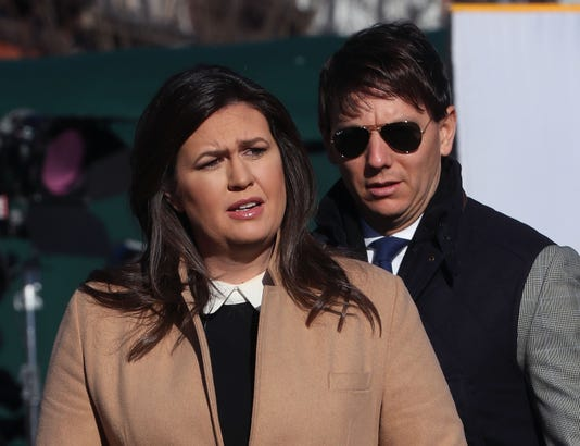 Press Secretary Sarah Sanders Addresses Media In White House Driveway