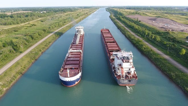 The Algoma Sault and the Algoma Equinox pass each other on the St. Lawrence Seaway.
