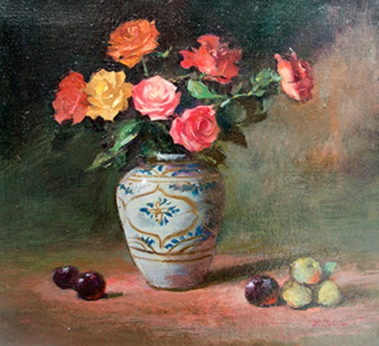 """Roses in Persian Vase"" by Keith Gunderson is part of the exhibit at the Beacon Fine Art Gallery."