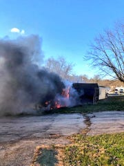 Crews responded to a trailer fire Tuesday morning in the 5100 block of the Susquehanna Trail in Conewago Township.