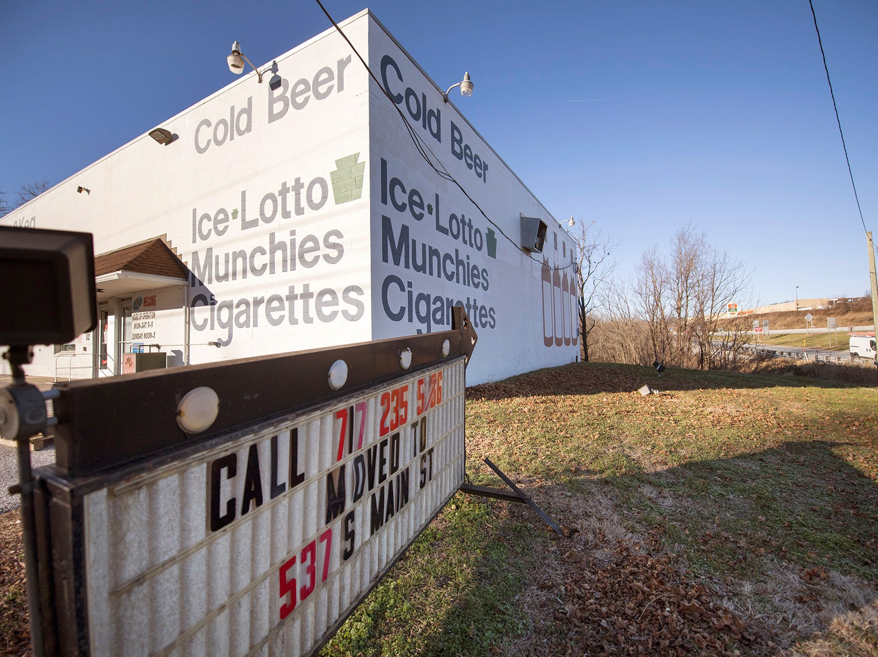 Case & Keg placed a sign in front of its former business location at the Interstate 83 Exit 4 interchange saying that it had moved to 537 S. Main St. in Shrewsbury. The move was prompted by plans to reconstruct the interchange.