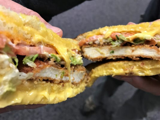 The new grilled cheese spicy chicken sandwich at Sheetz. The item can only be ordered off the new 'secret' Pop's Kitchen menu.
