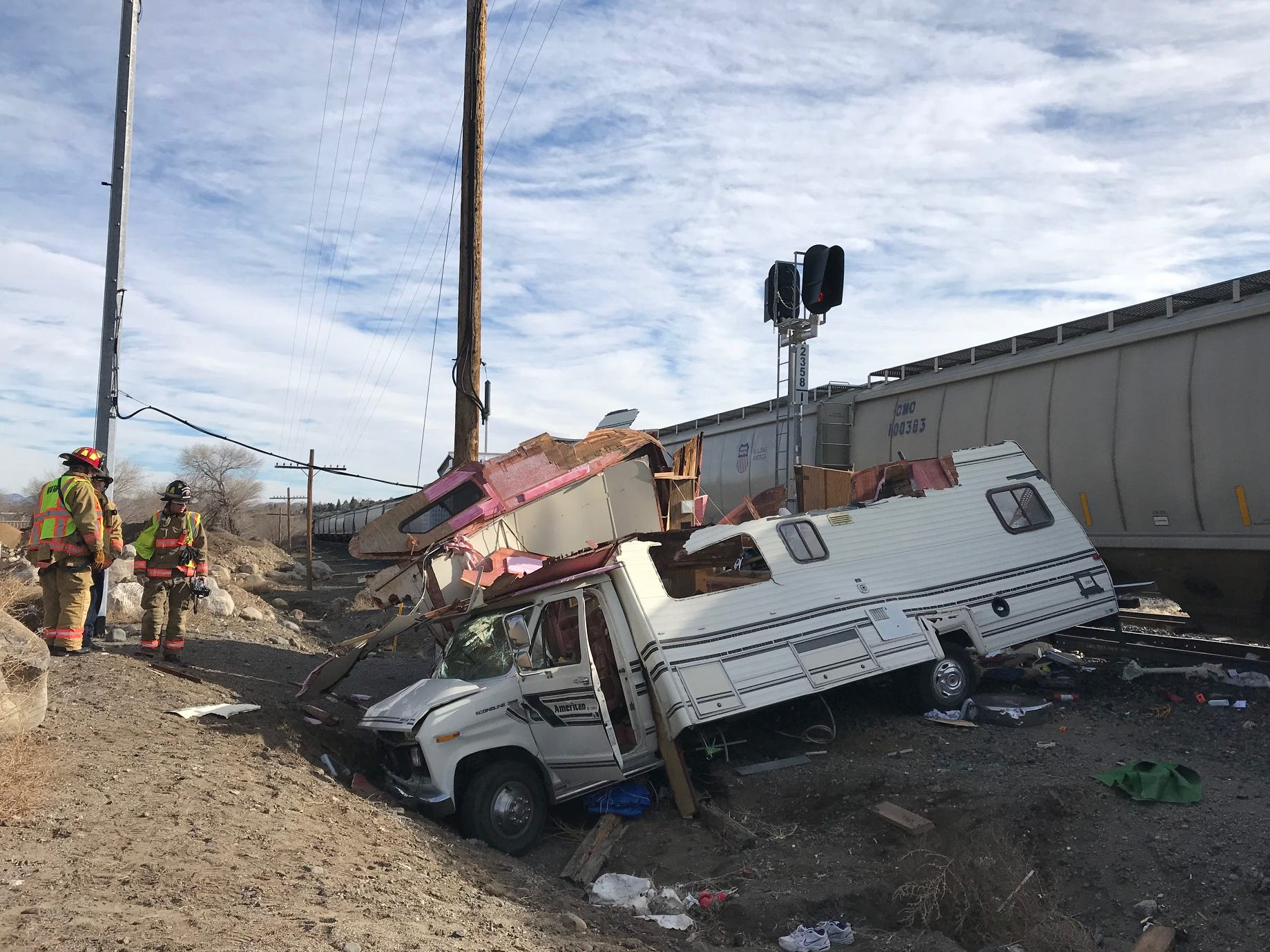 'Intentional act': 1 hurt when train, RV collide in west Reno