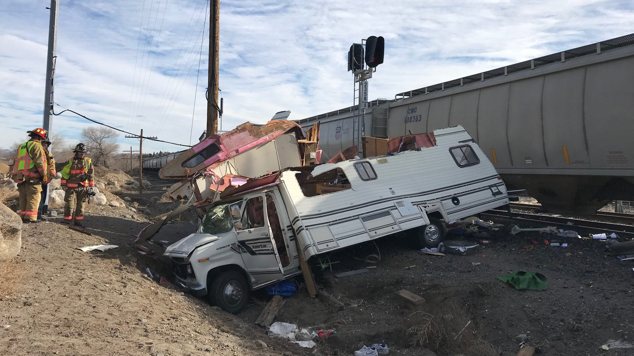 Emergency crews were on the scene Monday, Dec. 18, 2018 of a train-versus-RV crash west of Reno. At least one person was transported to an area hospital.