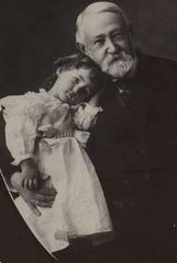 Benjamin Harrison, the 23rd President of the United States, holds his daughter Elizabeth. The president liked little children, and in 1892 sent a letter to a little Richmond girl that arrived the day before Christmas.