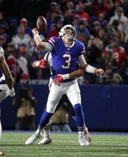 Bills quarterback Derek Anderson fumbles the ball as he is hit from behind by Patriots Kyle Van Noy in a 25-6 New England win. Back-to-back sacks put Anderson into seven weeks of concussion protocol.