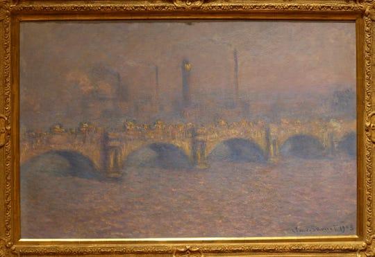 """Waterloo Bridge, Veiled Sun"", an oil on canvas by Claude Monet from 1903."