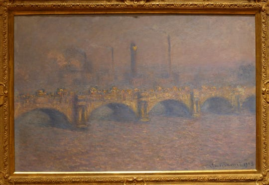 """Waterloo Bridge, Veiled Sun"", an oil on canvas by Claude Monet from 1903."