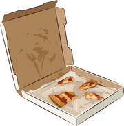 Pizza box with pizza