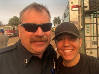 Wade Jones and his daughter, Brenna Jones, on a break from battling the Camp Fire.