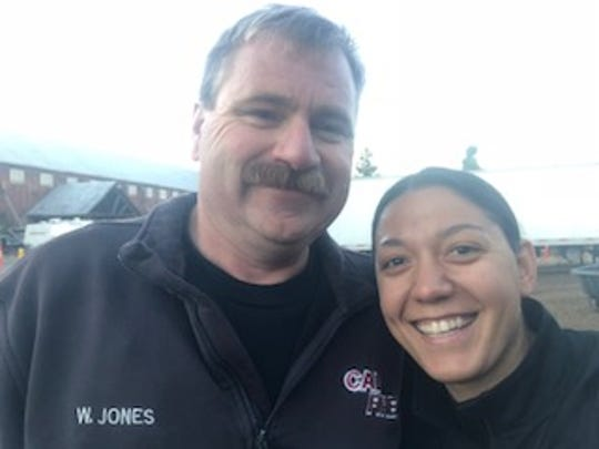 Wade Jones and his daughter, Brenna Jones, on a break from battling the Delta Fire.