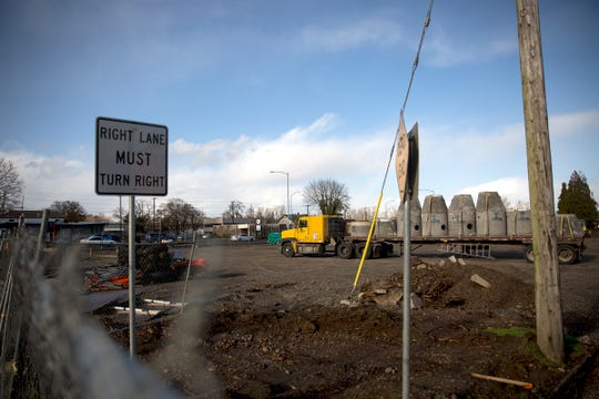 Construction is shown underway for the new Salem police headquarters at the corner of Liberty St. NE and Division St. NE on Tuesday, Dec. 18, 2018.