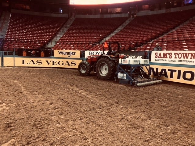 Ground Zero Equine Surfaces prepares the arena for the National Finals Rodeo at the Thomas & Mack Center in Las Vegas, Nevada.