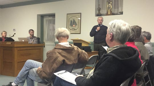 Onancock resident Steve Johnsen speaks during a public comment period a the Town Council meeting in Onancock, Virginia on Monday, Dec. 17, 2018.